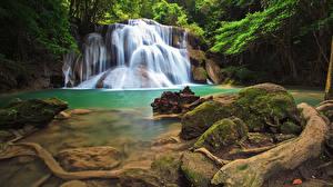 Картинка Таиланд Тропики Парк Водопады Камень Скале Мох Природа