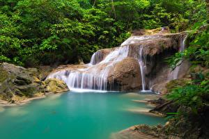 Картинка Таиланд Тропики Парки Водопады Деревья Утес Природа