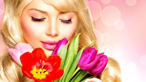 Фотография Тюльпаны Губы Блондинки Лица девушка