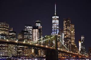 Фото США Небоскребы Манхэттен Нью-Йорк Ночные Мегаполис