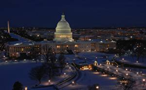 Фотография США Зима Вашингтон Ночь district of Columbia, Capitol город