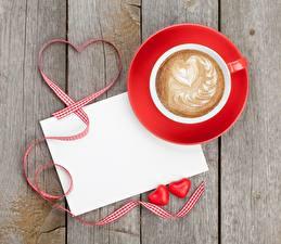 Картинки День всех влюблённых Капучино Доски Сердечко Чашка Шаблон поздравительной открытки Пища