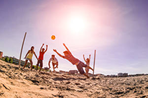 Картинки Мячик Песок Пляж Volleyball