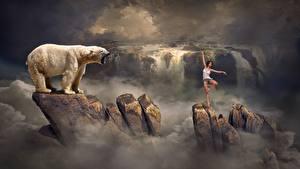 Обои Водопады Камни Медведи Северный Фантастика Девушки
