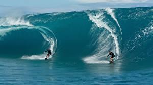 Фотографии Волны Мужчины Серфинг Двое спортивные