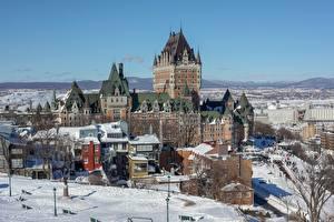Фотография Зимние Канада Дома Замок Квебек Снег Dufferin Terrace Города