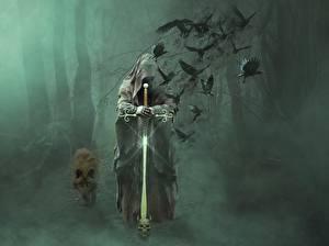 Картинка Волки Вороны Готика Фэнтези Туман С мечом Капюшон Фантастика