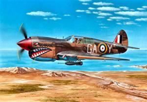 Фотографии Самолеты Рисованные Летят Британский Сбоку 1942 P-40E Kittyhawk Mk.IA Lybia 112 Sqn Clive ''Killer'' Caldwell ''Shark'' Squadron North Africa Авиация