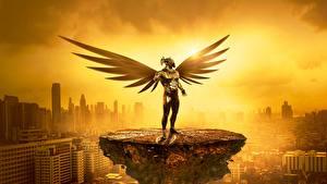 Картинки Ангел Небоскребы Рассветы и закаты Золотая Туман Фэнтези