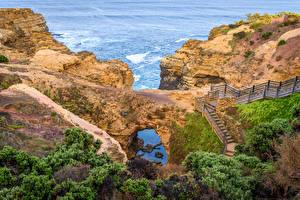 Картинки Австралия Скале Лестница Кусты Australian National Heritage Природа