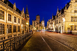 Фото Бельгия Гент Здания Ночью Уличные фонари Улица Ограда Города