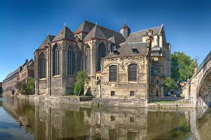Обои Бельгия Дома Храмы Водный канал Gent город