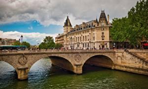 Обои Мост Реки Франция Дома Париж Pont Saint-Michel Города
