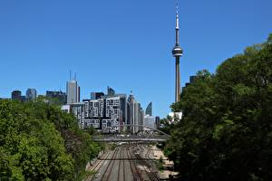 Картинка Канада Дома Торонто Башня город