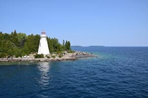 Фото Канада Маяк Заливы Tobermory, Ontario, Georgian Bay