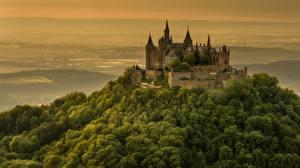 Картинка Замки Германия Холмы Hohenzollern Castle город