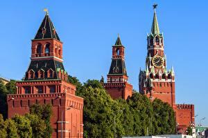 Обои Часы Московский Кремль Москва Россия Башня Spasskaya tower Города