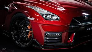 Фотография Вблизи Nissan Металлик Колеса Фары Красный GTR Nismo Gran Turismo авто