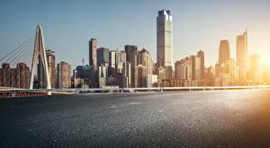 Фотография Побережье Дома Мосты Небоскребы Китай Chongqing город