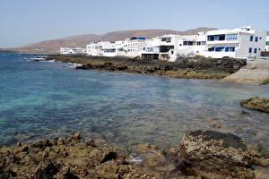 Фото Берег Камень Испания Остров Канары Lanzarote Города