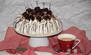 Картинки Кофе Торты Вишня Чашке Ложки Дизайна Продукты питания