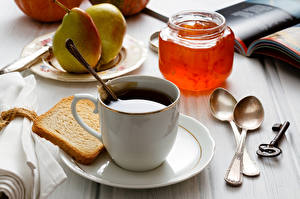 Картинки Кофе Повидло Хлеб Груши Чашке Банка Ложки Замковый ключ Пища