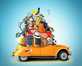 Картинка Цветной фон Чемоданом Шляпы Мяч Рюкзак Туризм