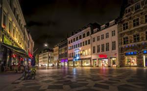 Обои Копенгаген Дания Дома Улица В ночи город