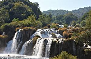 Обои Хорватия Водопады Парки Речка Krka national Park, river Krka Природа