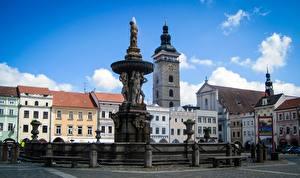 Фотография Чехия Скульптура Здания Фонтаны Городской площади Budweis