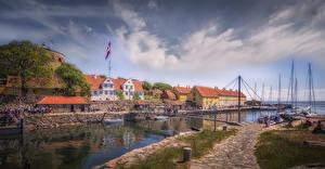 Фотография Дания Здания Пирсы Мосты Заливы Bornholm Города