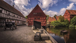 Фотография Дания Дома Речка Лодки Aarhus город