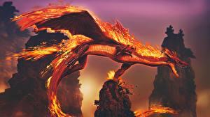 Картинки Дракон Пламя Фэнтези