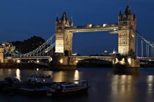 Фотографии Англия Мосты Река Речные суда Лондоне В ночи Башня Thames, Tower bridge город