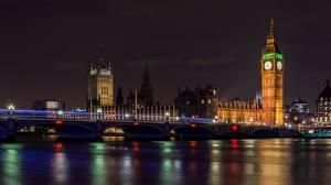 Фото Англия Речка Мост Лондон Ночь Башни Биг-Бен Thames город
