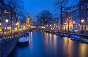 Фотографии Вечер Дома Катера Амстердам Голландия Водный канал Улиц Набережная город