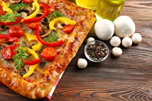 Обои Быстрое питание Пицца Грибы Перец чёрный Шампиньоны двуспоровые Пища Еда