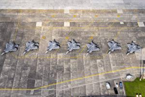 Фото Самолеты Истребители Япония Сверху USAF F-22 Raptor Yokota AB