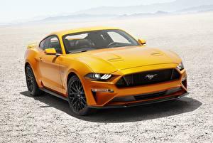 Картинки Форд Оранжевый Mustang Fastback 2017 V8 Автомобили
