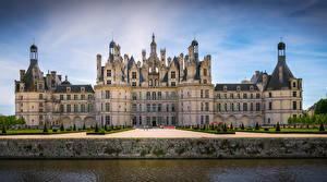 Картинка Франция Замки Парк Дизайна Водный канал Chambord Castle город