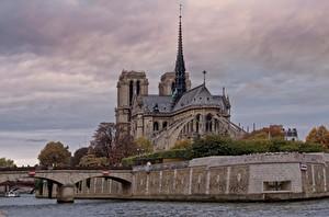 Фотография Франция Собор Реки Мост Храм Париж Notre Dame, river Seine Города