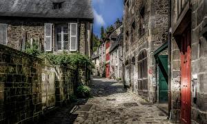 Фотографии Франция Дома Улиц Забора HDRI Dinan Brittany