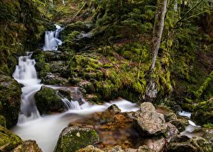 Картинка Франция Водопады Камни Мох Ручей Cascade de Mérelle Природа