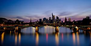 Фотографии Германия Франкфурт-на-Майне Мост Река Рассветы и закаты Вечер Bankenviertel, land of Hesse, Mynah