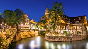 Фотография Германия Дома Водный канал Уличные фонари Деревья Кафе Ночь Esslingen