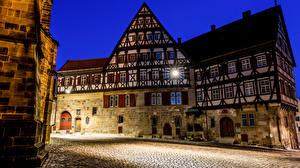 Фотография Германия Дома В ночи Уличные фонари Улиц Esslingen