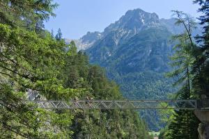 Фото Германия Горы Мост Бавария Mittenwald, Gorge Of Leutasch Природа