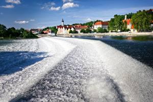 Фотография Германия Река Здания Бавария Landsberg, Lech river город