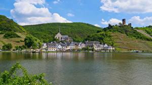 Фотографии Германия Реки Холмов river Moselle, Beilstein Города