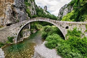 Обои Греция Мосты Горы Речка Арка Скала mountain area of Ioannina Природа